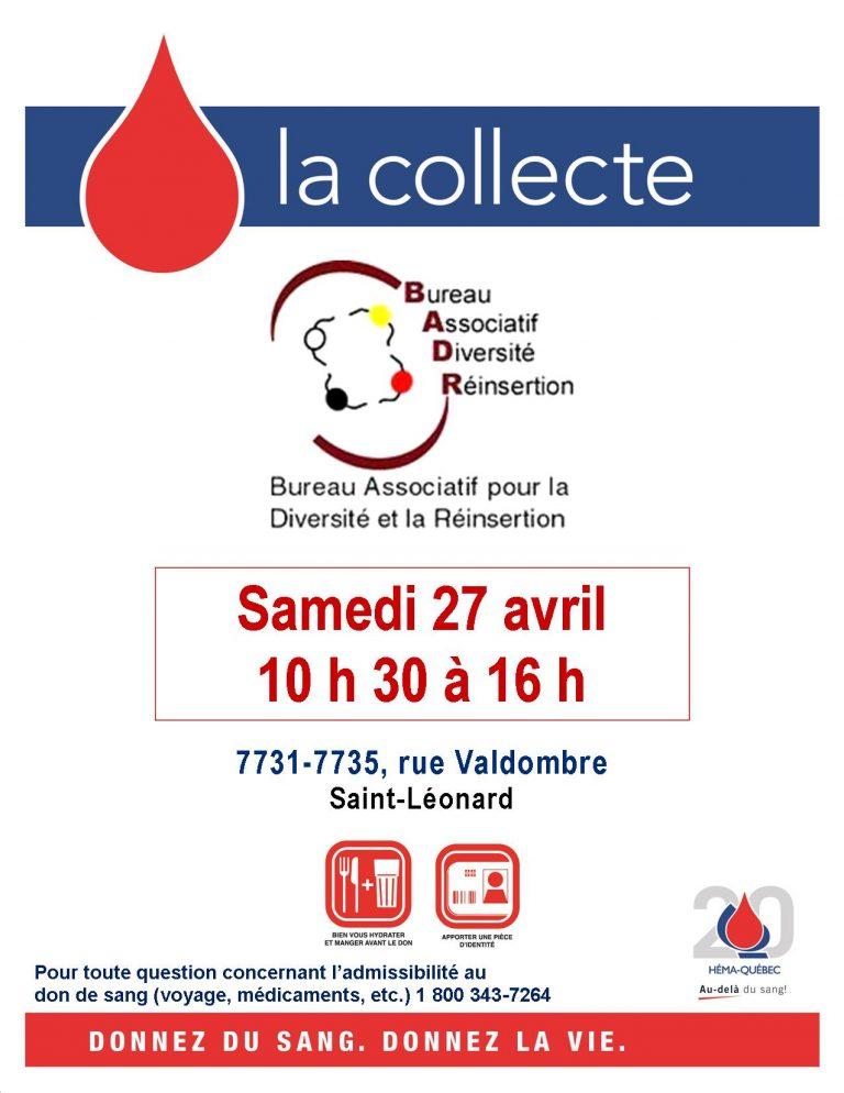 collecte de sang 2019