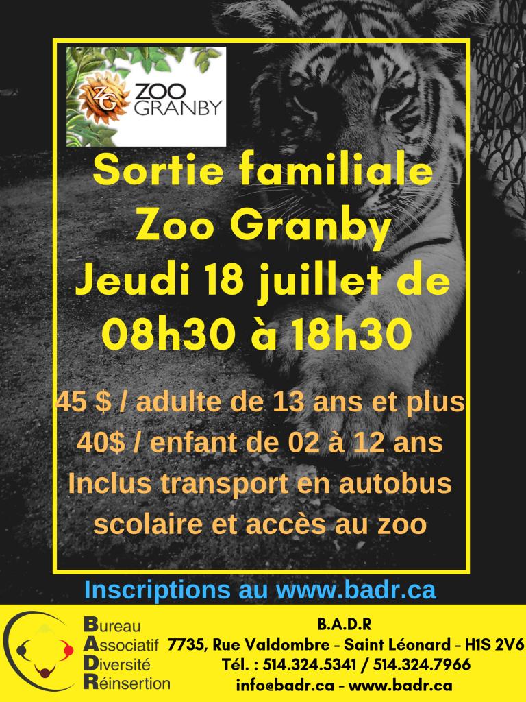 Sortie familiale Zoo Granby Jeudi 18 juillet de 08h30 à 18h30